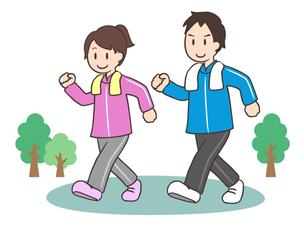 ウオーキングをする夫婦のイメージ