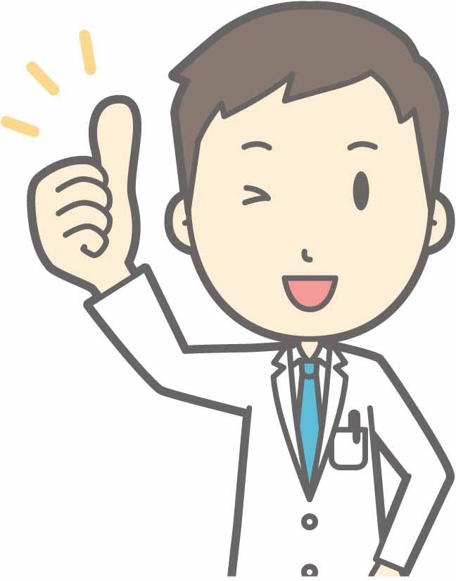 手でgoodマークを示す男性医師のイラスト