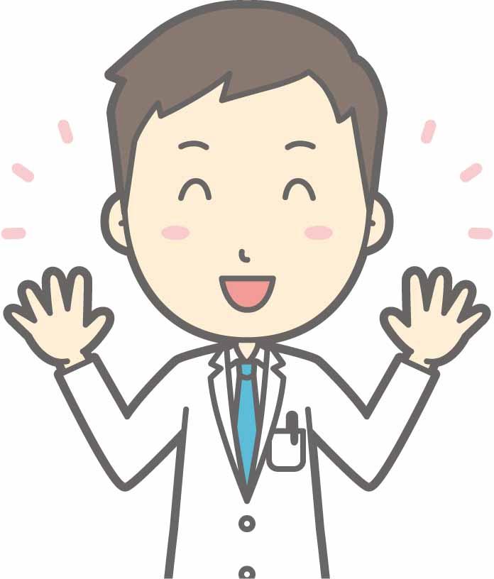 両手を広げて喜ぶ男性医師のイラスト