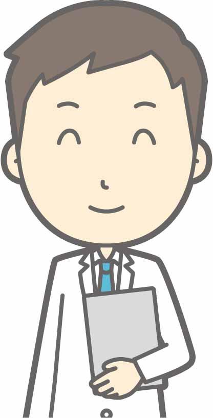 バインダーを片手に笑顔の男性医師のイラスト