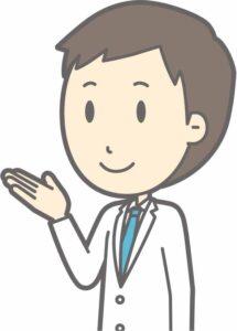 手で案内を示す男性医師のイラスト画像