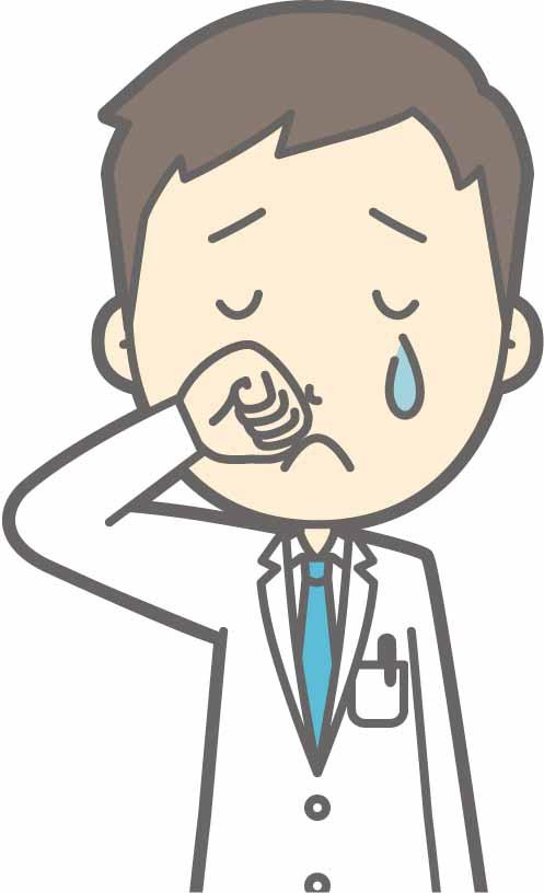 泣いている男性医師のイラスト