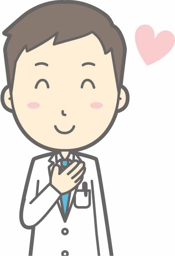 胸に手を当て男性医師のイラスト