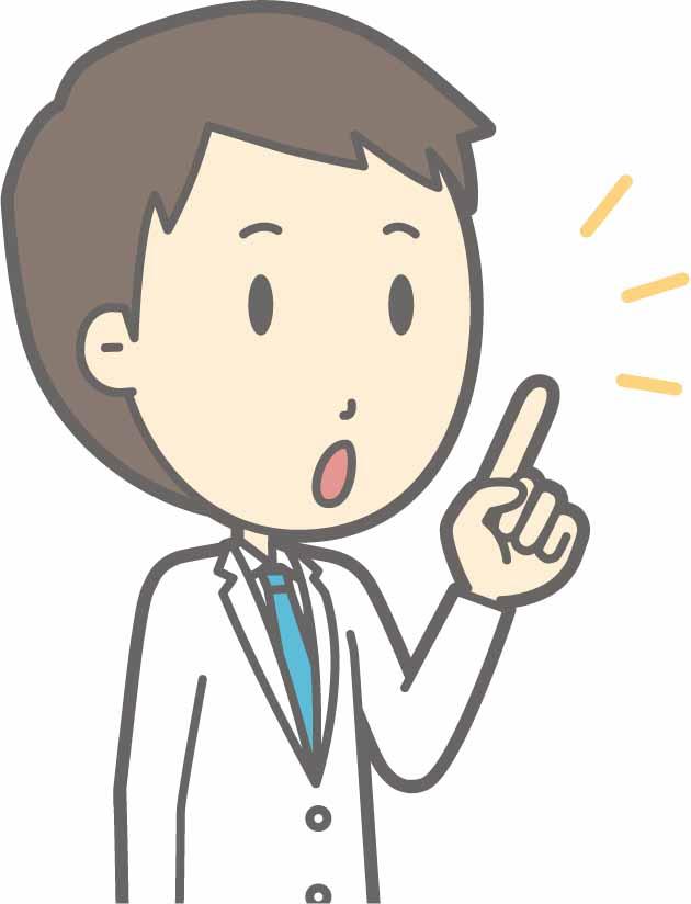 指を指して説明する男性医師のイラスト