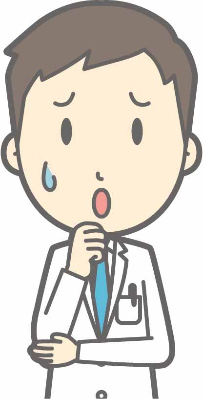 問題について悩む男性医師のイラスト