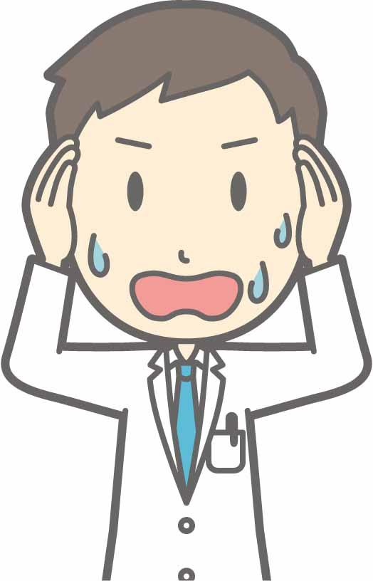 慌てる男性医師のイラスト画像