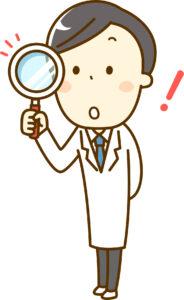 虫眼鏡を持つ男性医師のイラスト