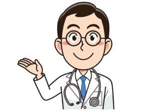 手で案内をする男性医師のイラスト
