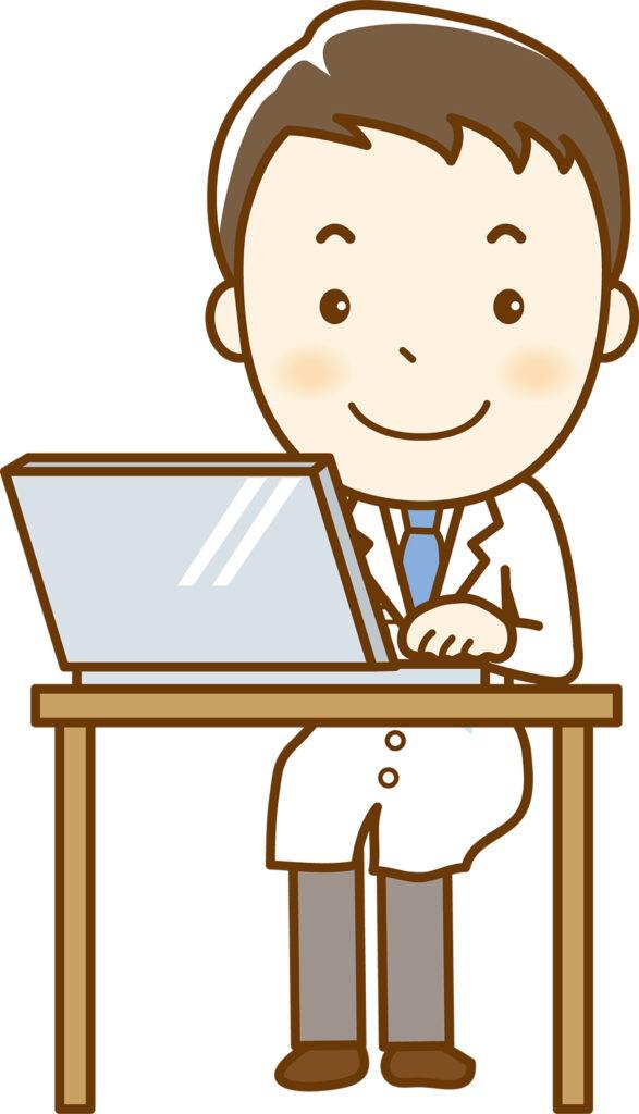 パソコンで記録をとる男性医師のイラスト