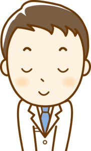 お辞儀をする男性医師のイラスト