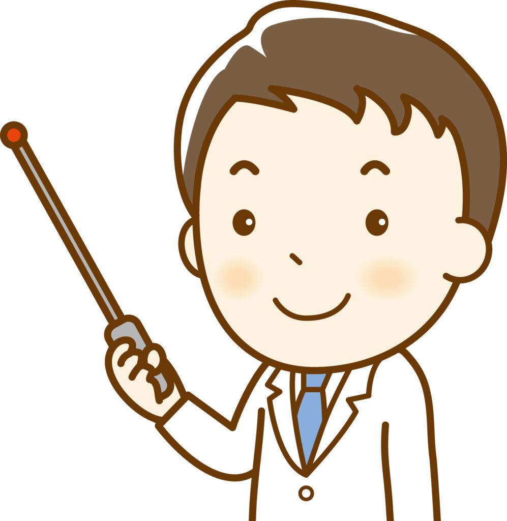 指示棒を持って説明する男性医師のイラスト