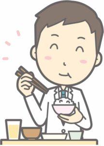 食事を摂る男性医師のイラスト