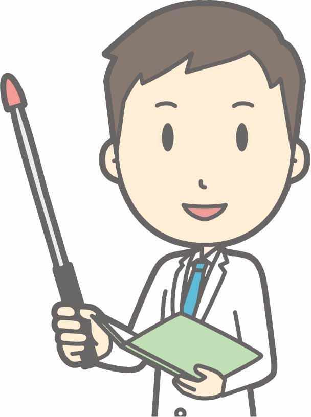 資料を片手に支持棒を持って説明する男性医師のイラスト