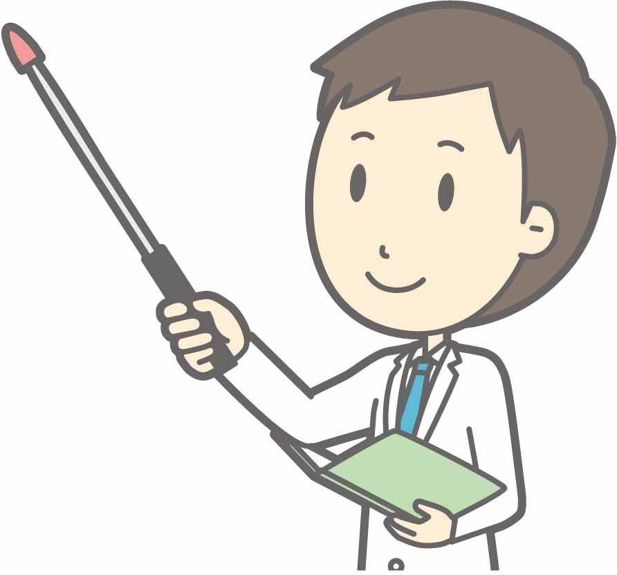 支持棒を持って説明する男性医師のイラスト
