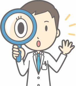 虫眼鏡を持って何かを発見する男性医師のイラスト